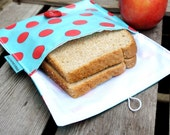 MEDIUM Snack Pouch Bag in Aqua and Red Polka Dot