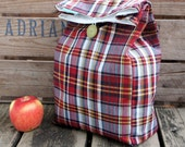 Vintage Red Tartan Cotton Lunch Bag