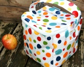 INSULATED Big Bento Box Lunch Bag in RAINBOW Polka Dot with zipper