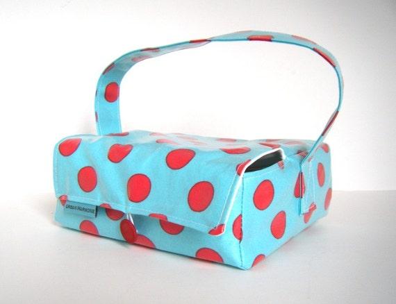 Red and Aqua Polka Dot Bento Box Lunch Bag