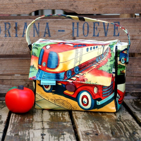 INSULATED Lunch Bag Short Box in Retro Transit