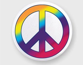 Tie dye Peace Symbol Button Badge