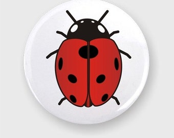 Ladybug One Inch Round Pin Back Button Badge
