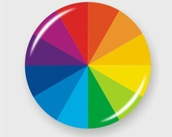 Color Wheel 2.25 Inch Pin Back Button Badge