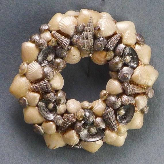 SALE: Miniature SHELL WREATH /  Pearl Elegance / Ornament or Pin / 12th scale