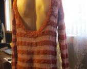 orange cream stripes open back sweater