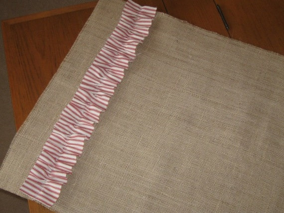 Sweet and simple burlap and ticking runner