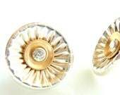 Post Earrings Silver and Gold - Free Shipping On Orders Over USD100