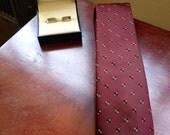 Burgundy Lanvin Mens Patterned Neck Tie - Standard Width