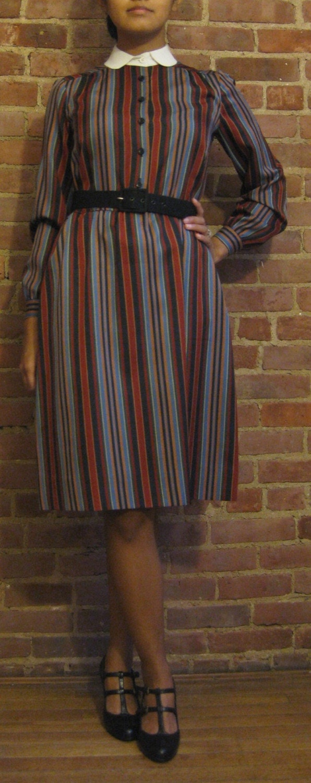 1950s Secretary School Teacher Dress Knee Length Stripes