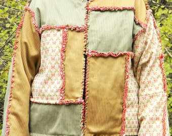 Rag Quilt Jacket in Greens and Browns