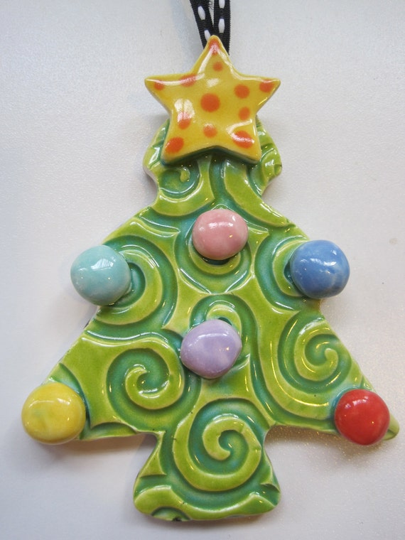 Whimsical christmas tree ceramic ornament