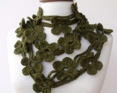Double Dark Olive Green Bloom Scarf-Ready For Shipping