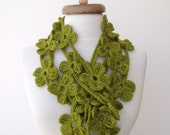 St. Patricks Day Double Green Bloom Flower Scarf-Ready for shipping