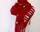 Free Shipping-Rapunzel Wool Scarf-Red Accessories- Ready for shipping