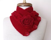 Red IVY Neckwarmer With Button And Flower-Ready For Shipping