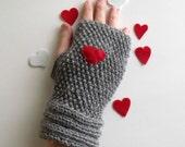 Grey Warm  Heart Fingerless Gloves - Wrist Warmers-Ready For Shipping