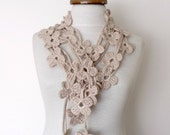 Double Beige Bloom Scarf-Ready For Shipping