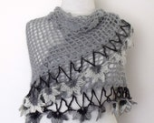 Grey Bridal Cloves Mohair shawl-Ready to shipping