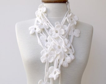 Double White Flower Bloom Scarf-Ready for shipping