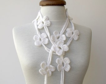 White Bloom Scarf-Ready For Shipping