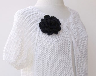 White Cotton Cardigan-Ready For Shipping