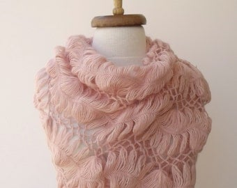 Powder Pink Bridal Lilies Mohair Shawl -Ready for shipping