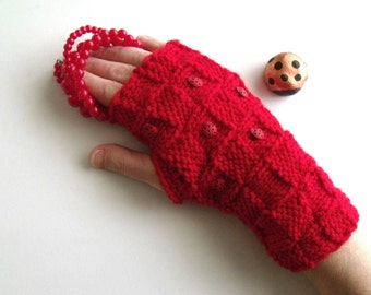 Red LADYBUG Gloves - Wrist Warmers-Ready For Shipping
