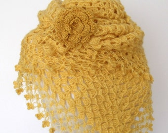 MIMOSA Yellow Bridal CASHMERE Mohair shawl-Ready to ship