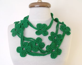 Dark Green Bloom Scarf-Women scarf-Ready for shipping