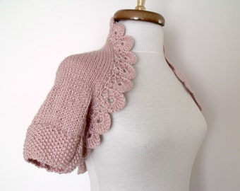 Light Pink Shrug With Flowers Brooch --Ready for shipping