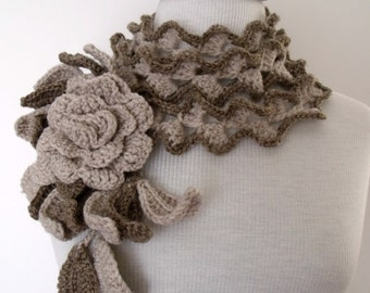 Palm Leaves lariat scarf with Beige Rose brooch-Hand Crochet -Spring Fashion