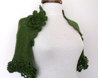 Green Bridal Mohair CASHMERE Shrug With Flower Brooch --Ready for shipping