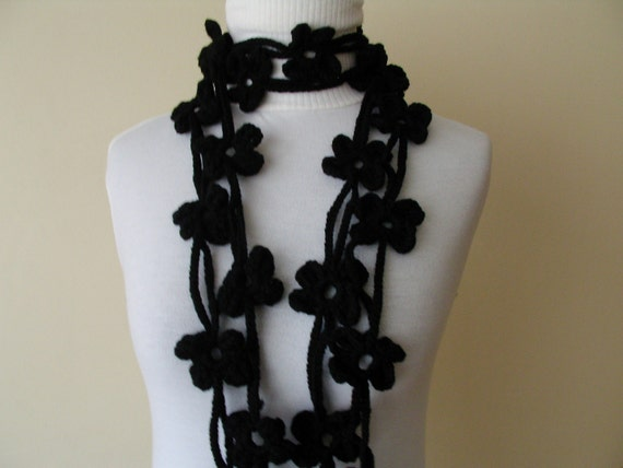 DOUBLE BLACK BLOOM SCARF-READY FOR SHIPPING