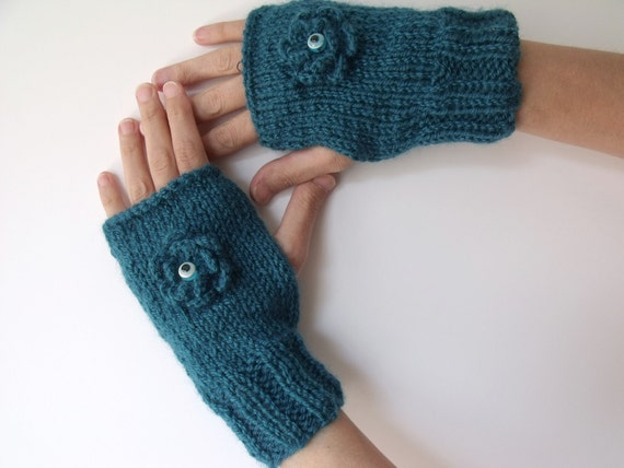 Teal Warm Fingerless Gloves - Wrist Warmers-Ready For Shipping