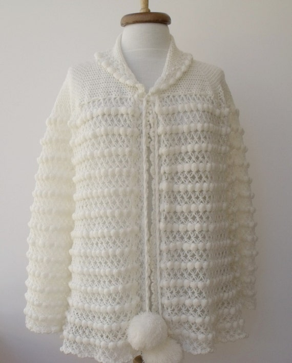 Vintage 80'S  White Pompom Cardigan-Ready for Shipping