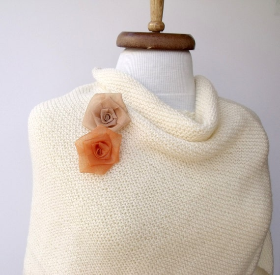 Ivory  Bridal Krizantem Shawl-Ready For Shipping-Fall Fashion