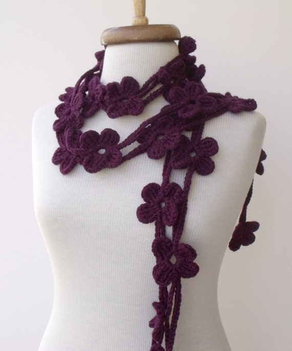 DoublePurple Bloom Scarf-Ready For Shipping-