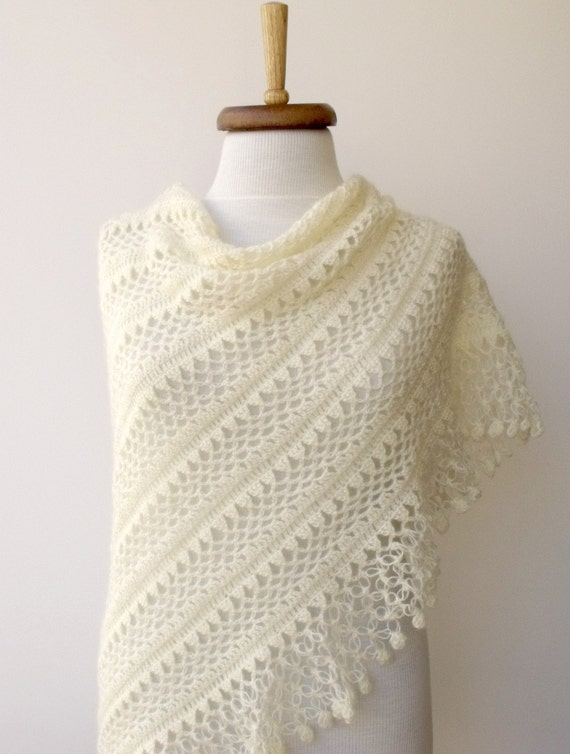 Ivory Bridal CASHMERE Mohair  shawl-Ready to ship -Fall Fashion-