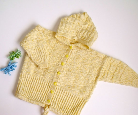 Hand Knit- Yellow Hooded Baby Coat -Ready For Shipping