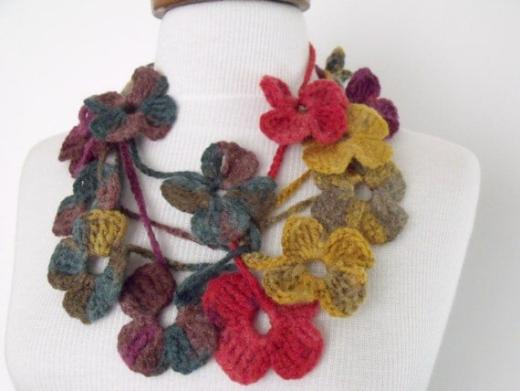 SALE...SALE...Mustard Green Red Purple Lariat, Scarf, Necklace Hand Crochet-Ready For Shipping-Black Friday and Cyber Monday- Christmas gift