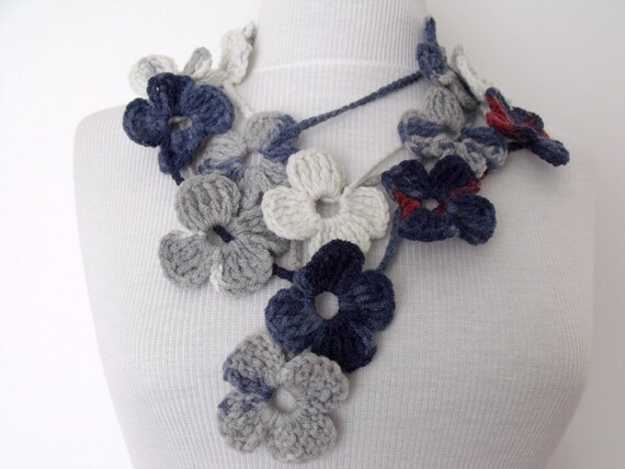 Grey Dark blue Flower Lariat, Scarf, Necklace Hand Crochet-Ready For Shipping