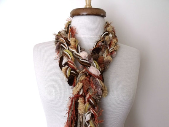 Brown Tone Cream Hand Knit Apache Scarf-Ready For Shipping