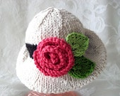 Baby Hats Knitting Knit Baby Bonnet  Hand Knitted  Brimmed Baby Hat Rose knitted baby clothes Newborn Baby Hat