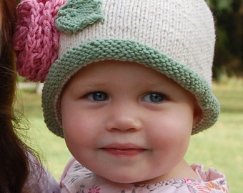 Baby Hat Knitting Hand Knit Baby Hat Knitted Rolltop Baby Beanie Cotton Knitted Baby Hat Baby hat with Flower Knitted Hat Children Clothing