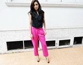 High Waist Pants Neon Pink Trousers Raspberry Bottom Fuchsia Petite Fall Fashion Etsy Gift