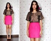 Pink Mini Skirt High Waist Neon Bottom Shocking Short Petite Raspberry Fuchsia Fall Fashion Etsy Gift