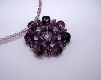 Amethyst Swarovski Necklace, Swarovski Necklace, Bicone Necklace