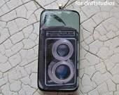 groovy Photographer Gift Bling Vintage Camera Altered Art Domino Pendant
