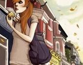 Red Hair Pretty Girl in London Fall